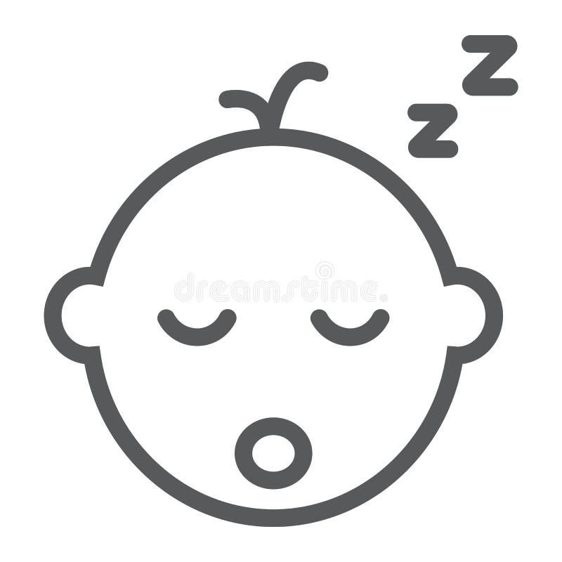 Εικονίδιο γραμμών ύπνου αγοράκι, παιδί και ύπνος, σημάδι παιδιών, διανυσματική γραφική παράσταση, ένα γραμμικό σχέδιο σε ένα άσπρ ελεύθερη απεικόνιση δικαιώματος