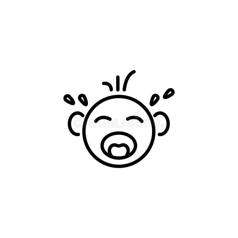 Εικονίδιο γραμμών baby crying ελεύθερη απεικόνιση δικαιώματος