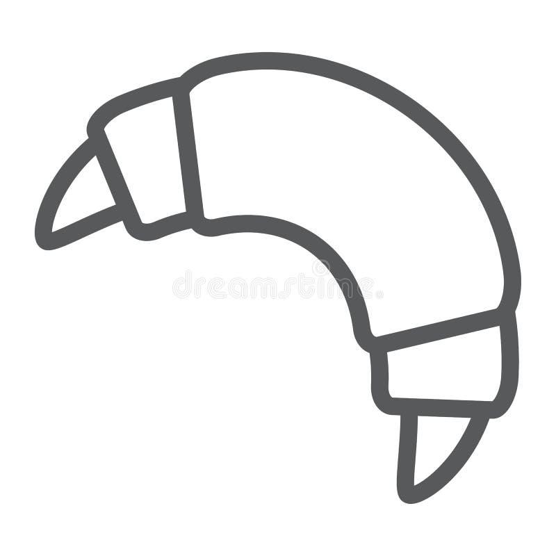 Εικονίδιο γραμμών Croissant, γλυκός και νόστιμος, σημάδι επιδορπίων ελεύθερη απεικόνιση δικαιώματος