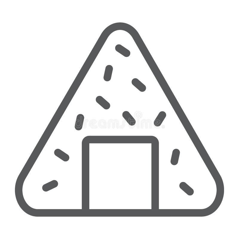 Εικονίδιο γραμμών Onigiri, Ασιάτης και τρόφιμα, ιαπωνικό σημάδι γεύματος, διανυσματική γραφική παράσταση, ένα γραμμικό σχέδιο σε  ελεύθερη απεικόνιση δικαιώματος