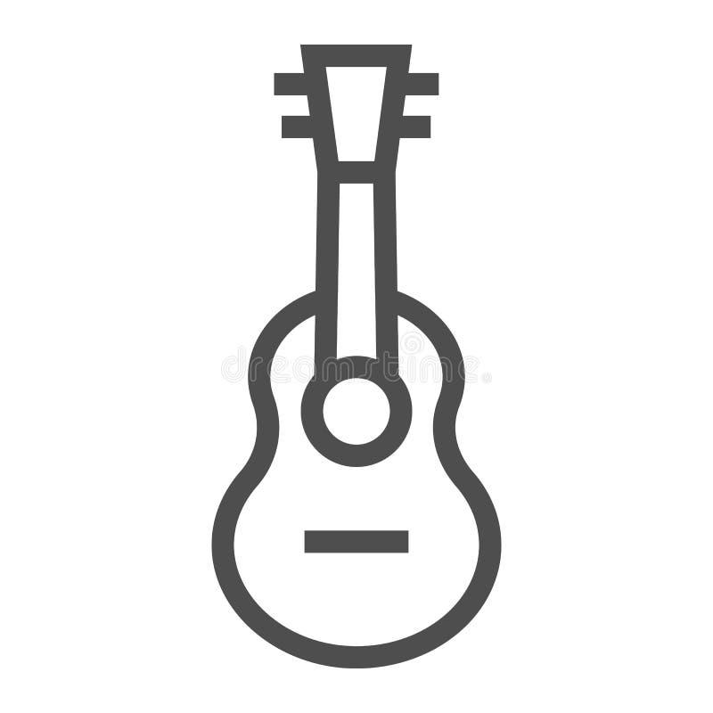 Εικονίδιο γραμμών Ukulele, μουσική και σειρά, σημάδι κιθάρων, διανυσματική γραφική παράσταση, ένα γραμμικό σχέδιο σε ένα άσπρο υπ διανυσματική απεικόνιση