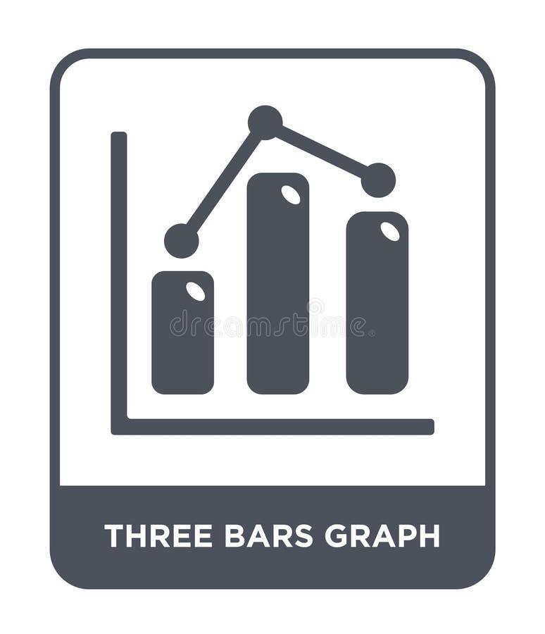εικονίδιο γραφικών παραστάσεων τριών φραγμών στο καθιερώνον τη μόδα ύφος σχεδίου εικονίδιο γραφικών παραστάσεων τριών φραγμών που ελεύθερη απεικόνιση δικαιώματος