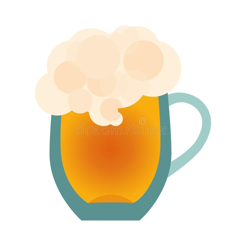 Εικονίδιο γυαλιού μπύρας που απομονώνεται στο άσπρο υπόβαθρο Κούπα οινοπνεύματος κινούμενων σχεδίων r ελεύθερη απεικόνιση δικαιώματος