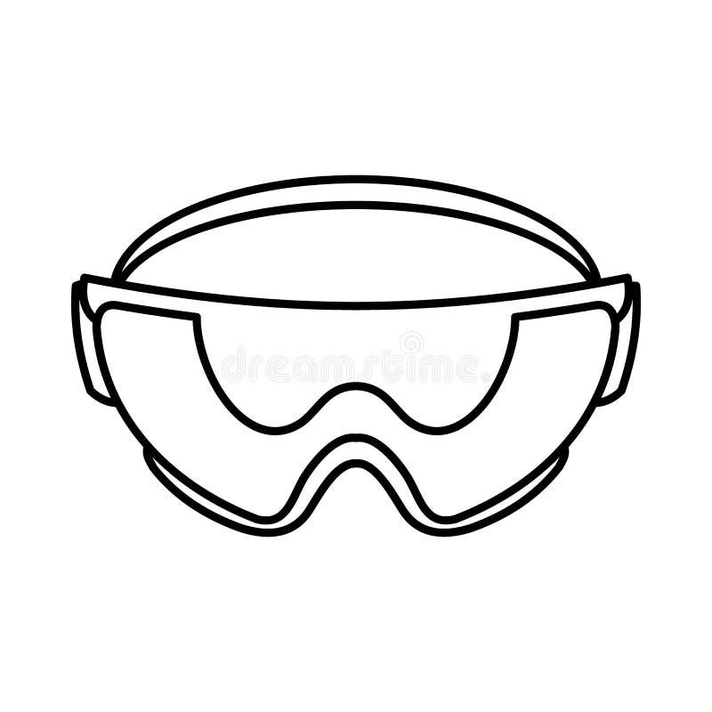Εικονίδιο γυαλιών ασφάλειας, ύφος περιλήψεων ελεύθερη απεικόνιση δικαιώματος
