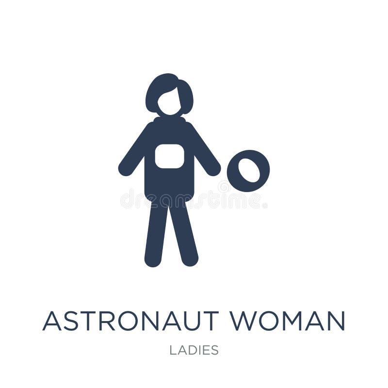Εικονίδιο γυναικών αστροναυτών Καθιερώνον τη μόδα επίπεδο διανυσματικό εικονίδιο γυναικών αστροναυτών επάνω διανυσματική απεικόνιση