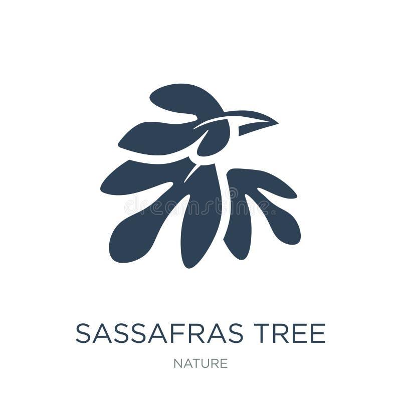 εικονίδιο δέντρων σασαφράδων στο καθιερώνον τη μόδα ύφος σχεδίου εικονίδιο δέντρων σασαφράδων που απομονώνεται στο άσπρο υπόβαθρο απεικόνιση αποθεμάτων
