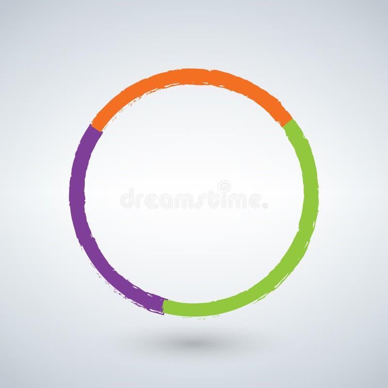 Εικονίδιο διαγραμμάτων κύκλων Grunge με το σχέδιο grunge τρία επιλογές ή βήματα η ανασκόπηση απομόνωσε το λευκό ελεύθερη απεικόνιση δικαιώματος