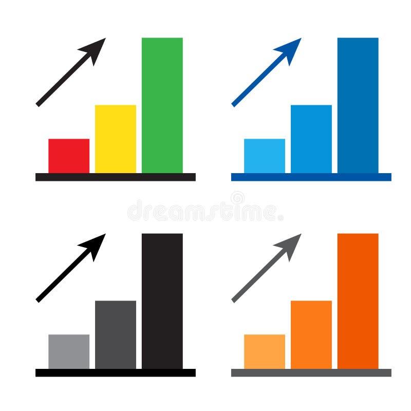 Εικονίδιο διαγραμμάτων Χρωματισμένο σύνολο εικονιδίου προόδου διαγραμμάτων με το βέλος r απεικόνιση αποθεμάτων