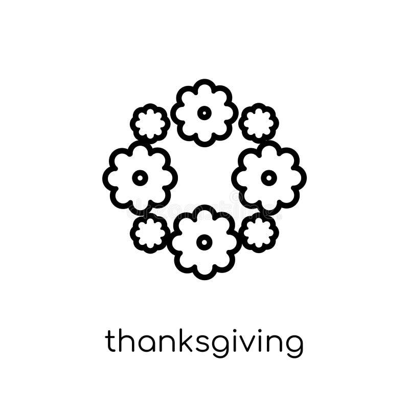 Εικονίδιο διακοσμήσεων ημέρας των ευχαριστιών Καθιερώνον τη μόδα σύγχρονο επίπεδο γραμμικό διανυσματικό Tha διανυσματική απεικόνιση