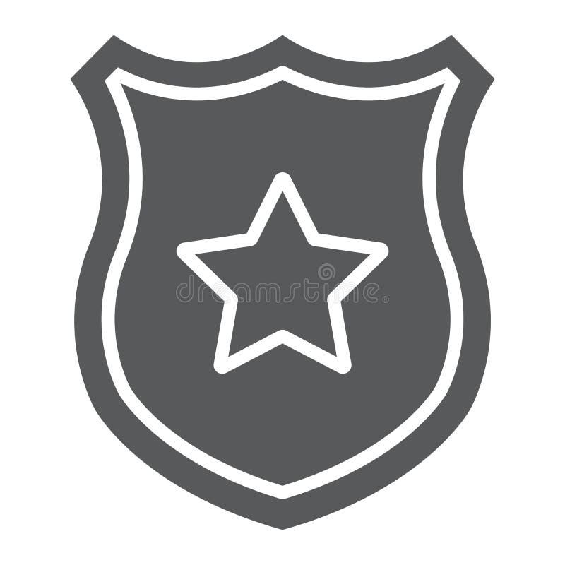 Εικονίδιο διακριτικών αστυνομίας glyph, ανώτερος υπάλληλος και νόμος, ασπίδα με το σημάδι αστεριών, διανυσματική γραφική παράστασ διανυσματική απεικόνιση