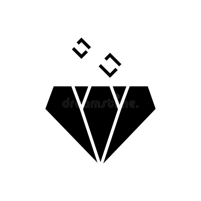 Εικονίδιο διαμαντιών, διανυσματική απεικόνιση, μαύρο σημάδι στο απομονωμένο υπόβαθρο ελεύθερη απεικόνιση δικαιώματος