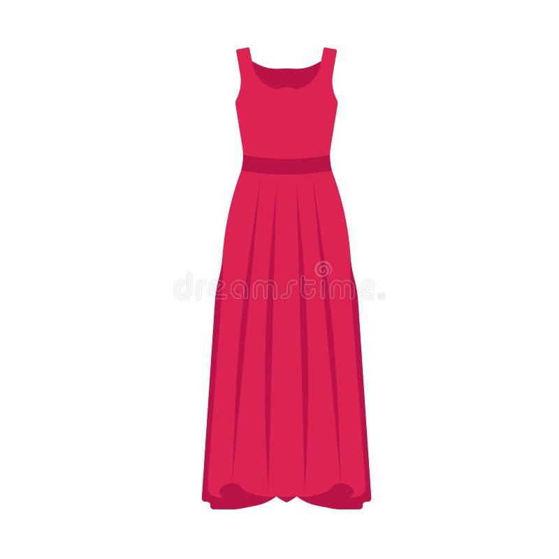 Εικονίδιο διανύσματος της γυναίκας μεγάλου φορέματος Γυναικεία ομορφιά ρούχα μοντέλο κομψότητα Όμορφο στυλ για το σώμα ελεύθερη απεικόνιση δικαιώματος