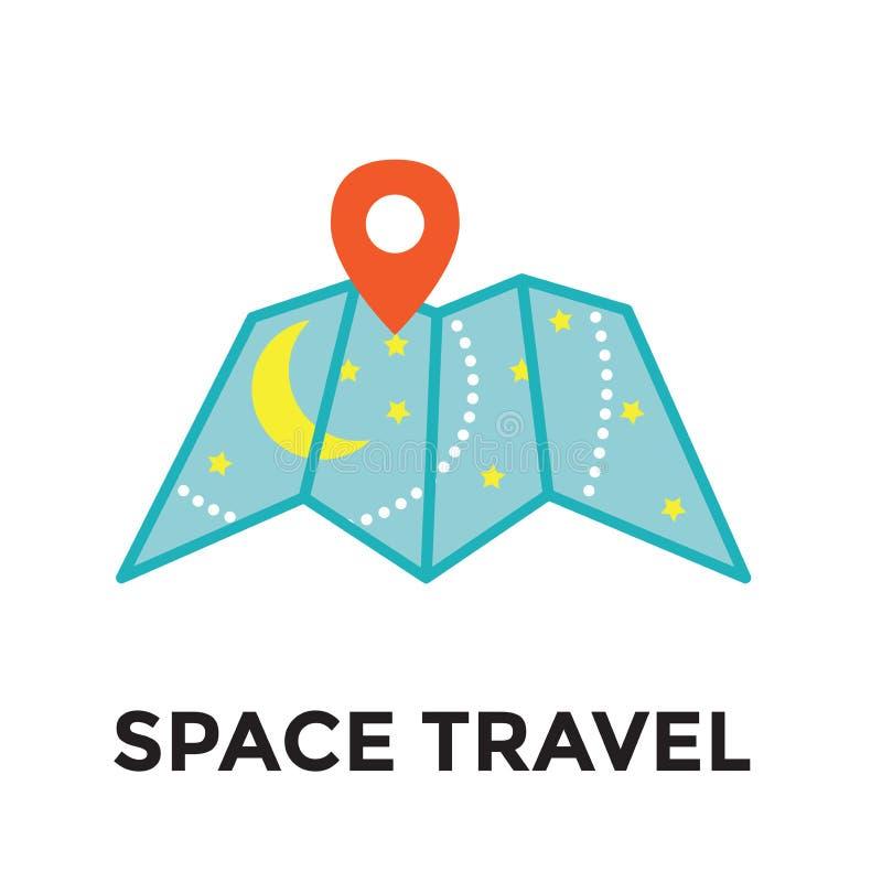 Εικονίδιο διαστημικού ταξιδιού - γαλαξιακός χάρτης - τουρισμός στο μακρινό διάστημα - Expl απεικόνιση αποθεμάτων