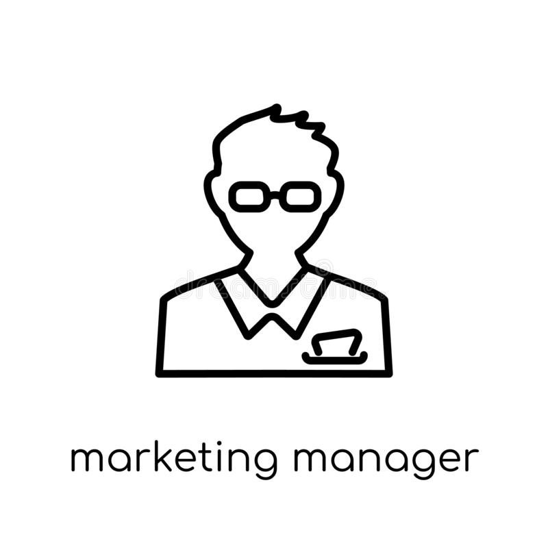 Εικονίδιο Διευθυντής μάρκετινγκ Καθιερώνον τη μόδα σύγχρονο επίπεδο γραμμικό διανυσματικό Marketi διανυσματική απεικόνιση