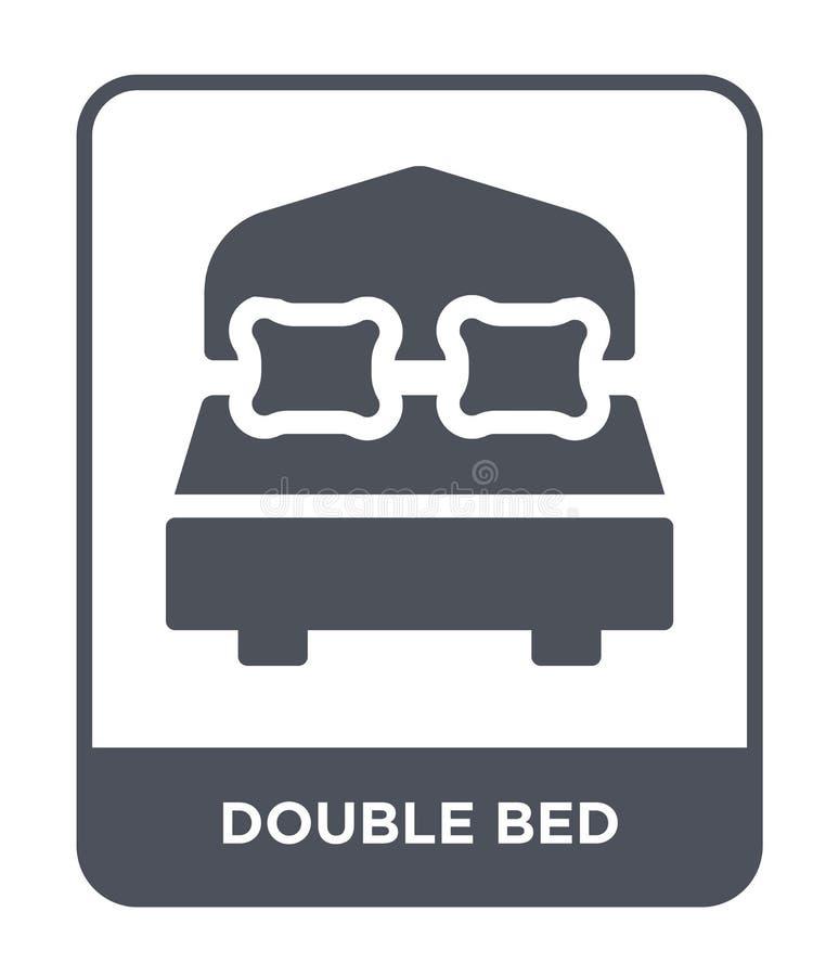 εικονίδιο διπλών κρεβατιών στο καθιερώνον τη μόδα ύφος σχεδίου εικονίδιο διπλών κρεβατιών που απομονώνεται στο άσπρο υπόβαθρο δια ελεύθερη απεικόνιση δικαιώματος