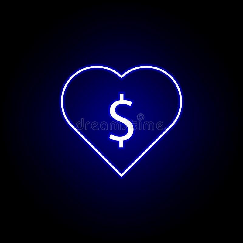 εικονίδιο δολαρίων καρδιών στο ύφος νέου Στοιχείο της απεικόνισης χρηματοδότησης Το εικονίδιο σημαδιών και συμβόλων μπορεί να χρη διανυσματική απεικόνιση