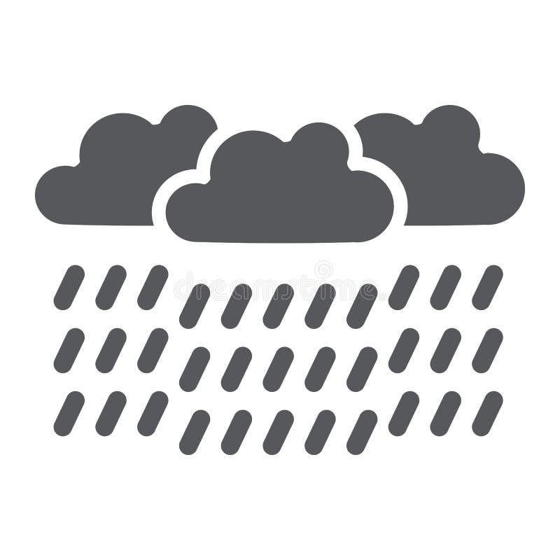 Εικονίδιο δυνατής βροχής glyph, καιρός και μετεωρολογία, σημάδι σύννεφων βροχής, διανυσματική γραφική παράσταση, ένα στερεό σχέδι απεικόνιση αποθεμάτων