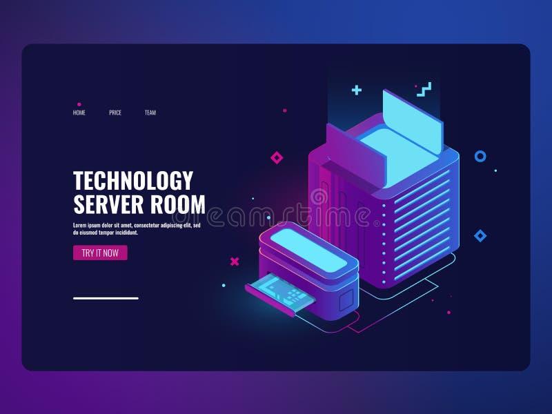 Εικονίδιο δωματίων κεντρικών υπολογιστών, datacenter και έννοια πρόσβασης βάσεων δεδομένων, φιλοξενία Ιστού, τεχνολογία αποθήκευσ απεικόνιση αποθεμάτων
