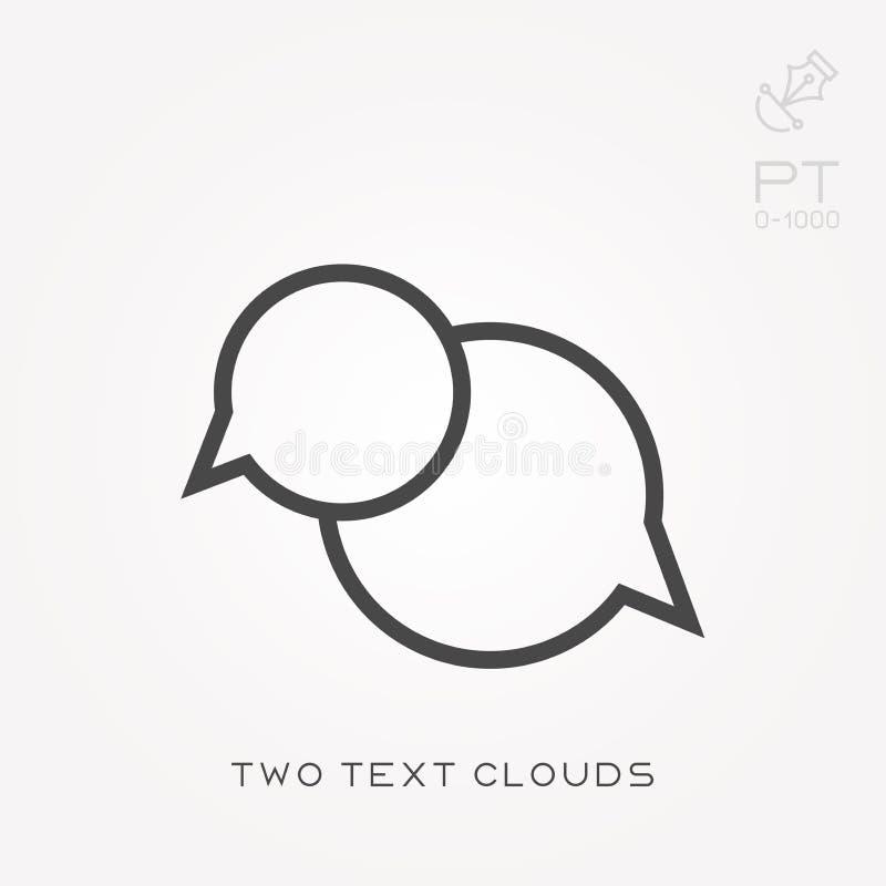 Εικονίδιο δύο γραμμών σύννεφα κειμένων διανυσματική απεικόνιση