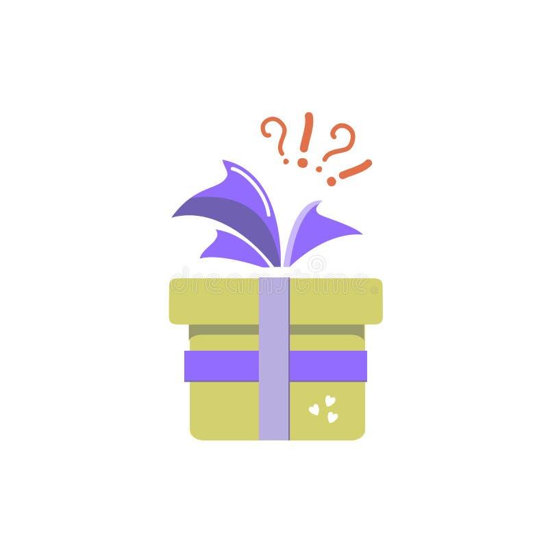 Εικονίδιο δώρων, έκπληξη, κίτρινο κιβώτιο δώρων με ένα ερωτηματικό και θαυμαστικό ελεύθερη απεικόνιση δικαιώματος