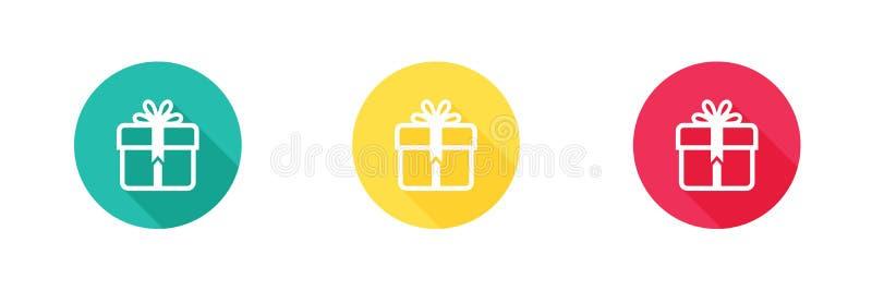 Εικονίδιο δώρων πράσινοι κίτρινος και κόκκινος με τη μακροχρόνια επίδραση σκιών Απλό, επίπεδο σχέδιο, στερεό ύφος εικονιδίων για  διανυσματική απεικόνιση