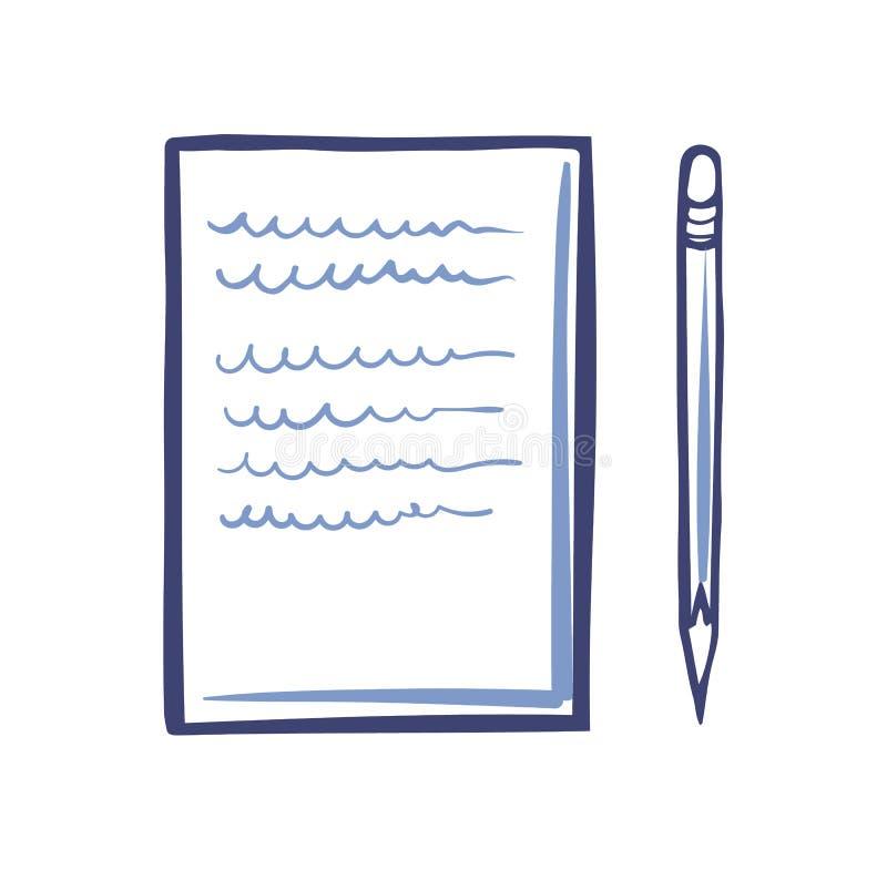 Εικονίδιο εγγράφου γραφείων και αιχμηρό απομονωμένο μολύβι διάνυσμα διανυσματική απεικόνιση