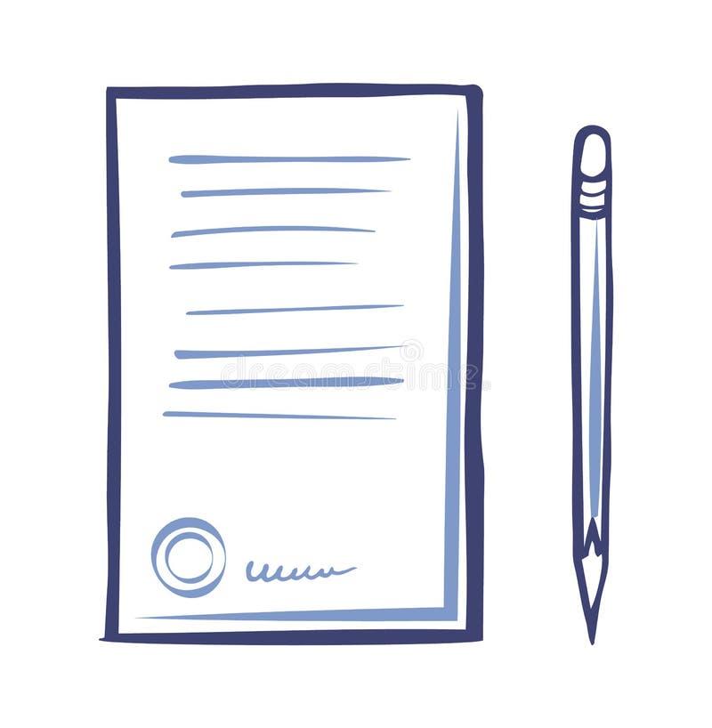 Εικονίδιο εγγράφου συμβάσεων, αιχμηρό απομονωμένο μολύβι διάνυσμα ελεύθερη απεικόνιση δικαιώματος