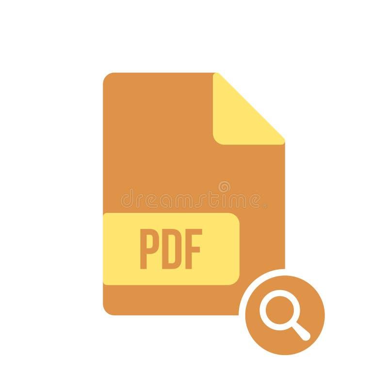 Εικονίδιο εγγράφων PDF, pdf επέκταση, εικονίδιο μορφής αρχείου με το ερευνητικό σημάδι Το εικονίδιο εγγράφων PDF και εξερευνά, βρ διανυσματική απεικόνιση