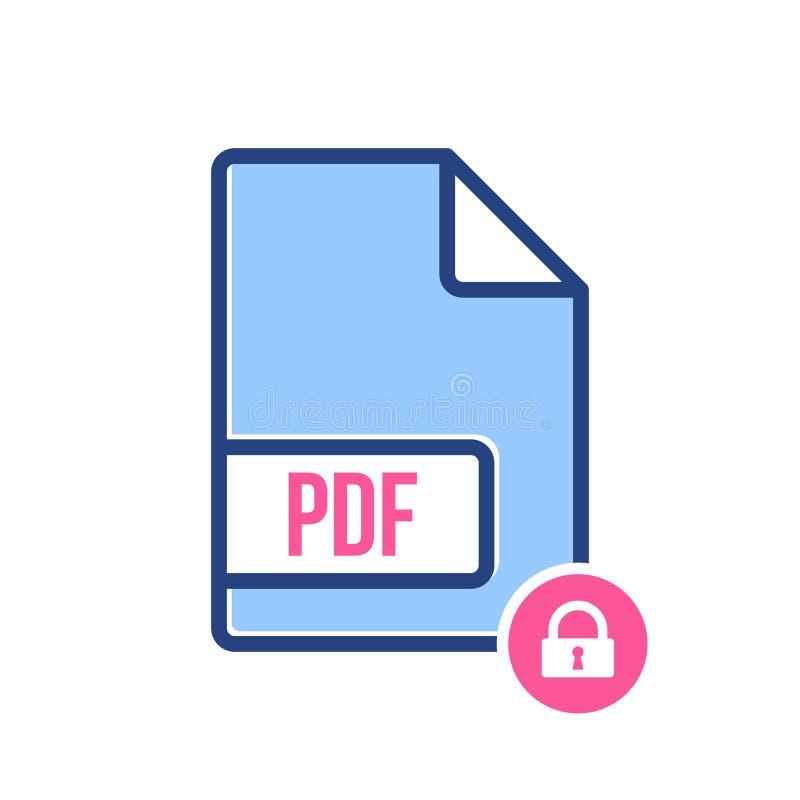 Εικονίδιο εγγράφων PDF, pdf επέκταση, εικονίδιο μορφής αρχείου με το σημάδι λουκέτων Εικονίδιο εγγράφων PDF και ασφάλεια, προστασ απεικόνιση αποθεμάτων