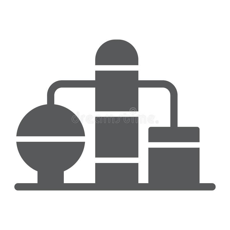 Εικονίδιο εγκαταστάσεων καθαρισμού glyph, καύσιμα και εγκαταστάσεις, σημάδι εργοστασίων πετρελαίου, διανυσματική γραφική παράστασ απεικόνιση αποθεμάτων