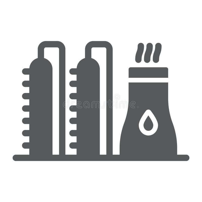 Εικονίδιο εγκαταστάσεων πετρελαίου glyph, industy και εγκαταστάσεις καθαρισμού, σημάδι εργοστασίων δύναμης, διανυσματική γραφική  ελεύθερη απεικόνιση δικαιώματος
