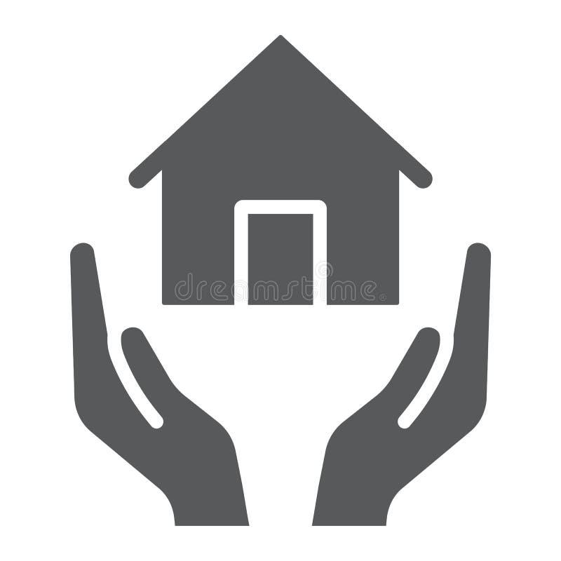 Εικονίδιο εγχώριας ασφάλειας glyph, κτήμα και ιδιοκτησία, σημάδι προσοχής σπιτιών, διανυσματική γραφική παράσταση, ένα στερεό σχέ απεικόνιση αποθεμάτων