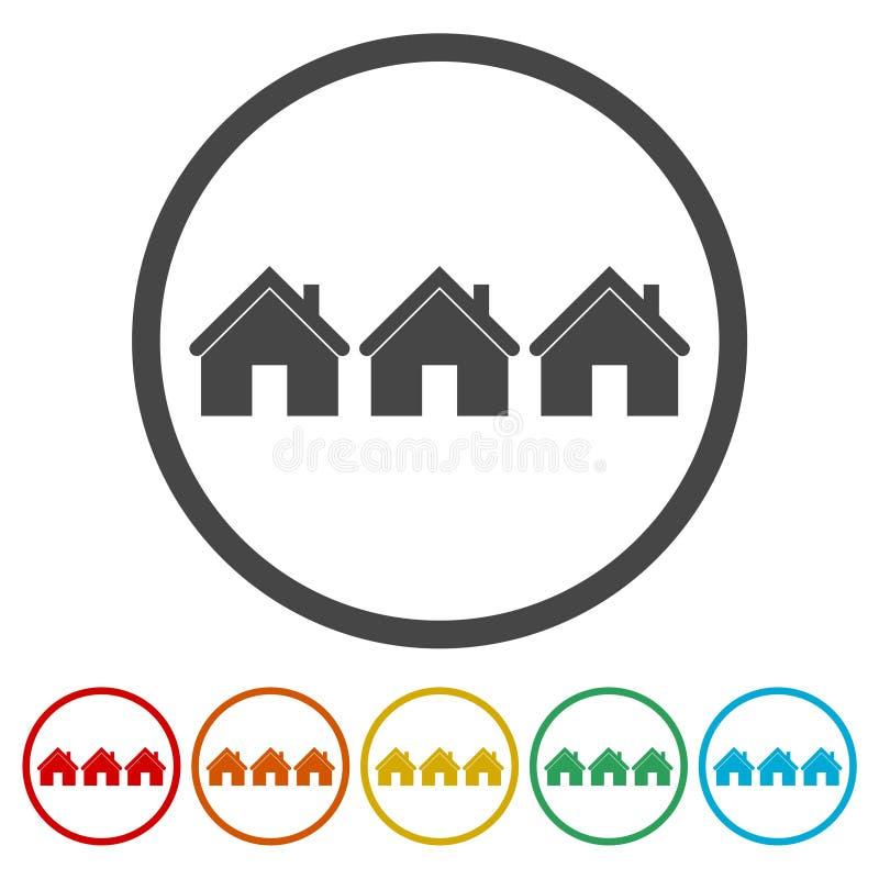 Εικονίδιο εγχώριων σημαδιών Κύριο κουμπί σελίδων, εικονίδιο σπιτιών, 6 χρώματα συμπεριλαμβανόμενα ελεύθερη απεικόνιση δικαιώματος