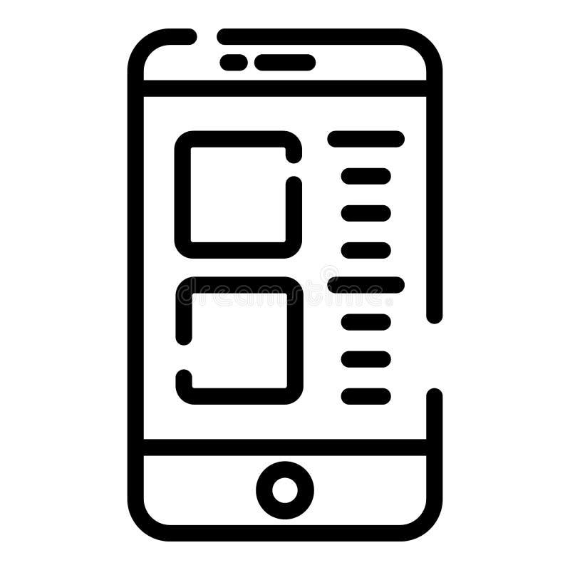 Εικονίδιο εθισμού Smartphone, ύφος περιλήψεων διανυσματική απεικόνιση