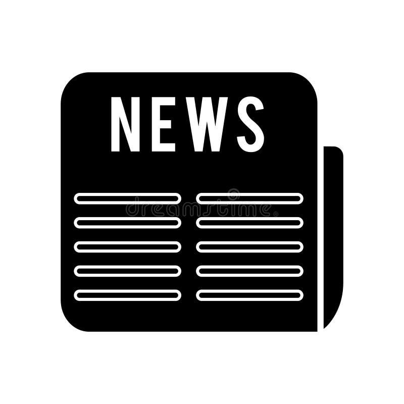 Εικονίδιο ειδήσεων, διανυσματική απεικόνιση, μαύρο σημάδι στο απομονωμένο υπόβαθρο απεικόνιση αποθεμάτων