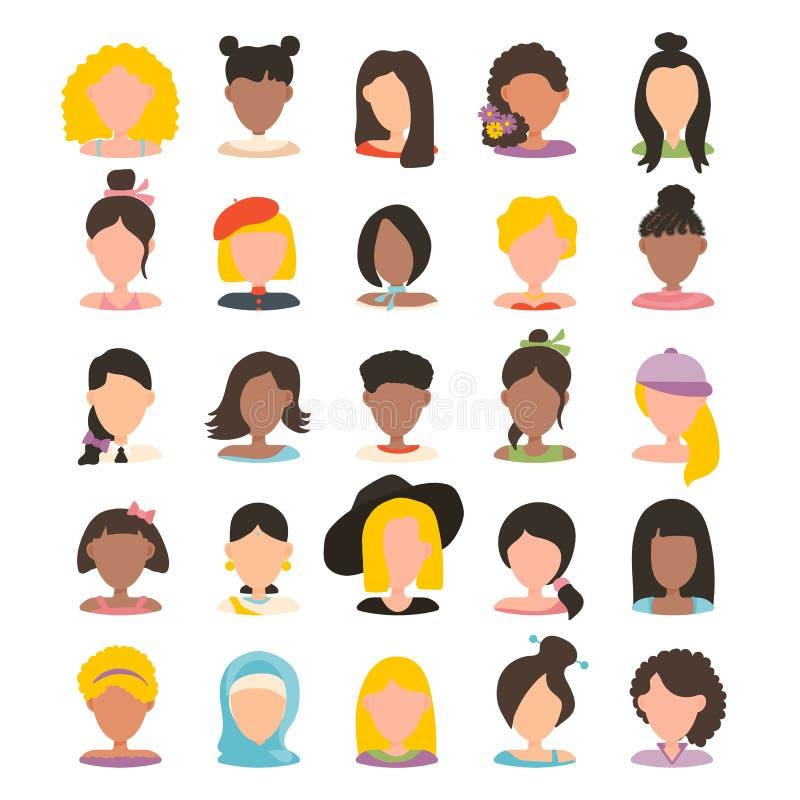 Εικονίδιο εικόνων σχεδιαγράμματος ειδώλων χρηστών καθορισμένο συμπεριλαμβανομένου του θηλυκού Διανυσματική απεικόνιση στο επίπεδο απεικόνιση αποθεμάτων
