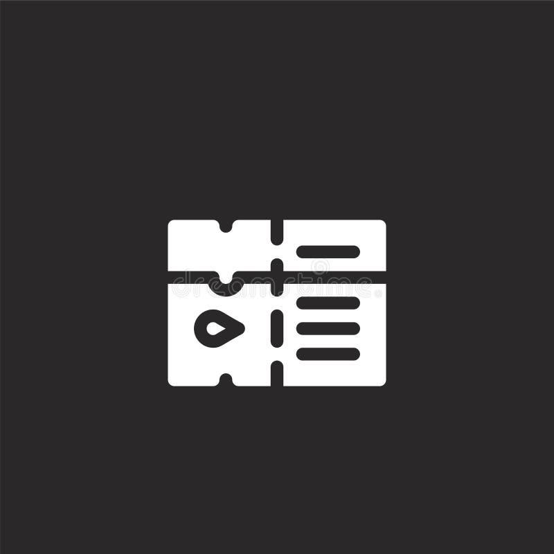 εικονίδιο εισιτηρίων Γεμισμένο εικονίδιο εισιτηρίων για το σχέδιο ιστοχώρου και κινητός, app ανάπτυξη εικονίδιο εισιτηρίων από τη διανυσματική απεικόνιση