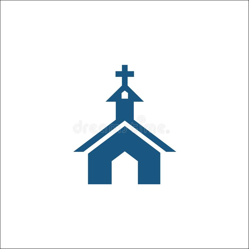 Εικονίδιο εκκλησιών στην επίπεδη απομονωμένη ύφος διανυσματική απεικόνιση λογότυπων ελεύθερη απεικόνιση δικαιώματος