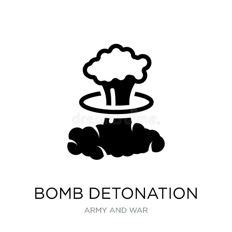εικονίδιο εκπυρσοκρότησης βομβών στο καθιερώνον τη μόδα ύφος σχεδίου εικονίδιο εκπυρσοκρότησης βομβών που απομονώνεται στο άσπρο  απεικόνιση αποθεμάτων