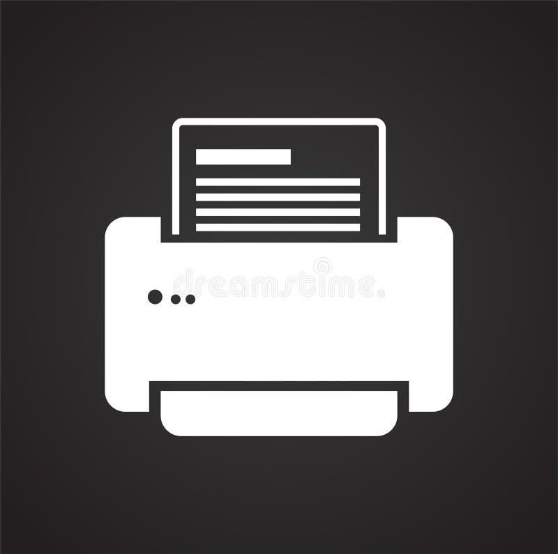 Εικονίδιο εκτυπωτών γραφείων στο μαύρο υπόβαθρο για το γραφικό και σχέδιο Ιστού, σύγχρονο απλό διανυσματικό σημάδι μπλε έννοια Δι ελεύθερη απεικόνιση δικαιώματος