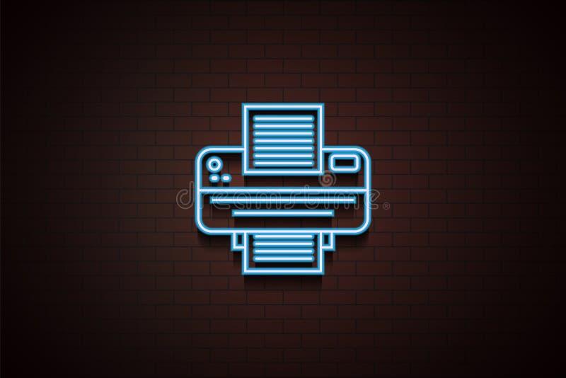 Εικονίδιο εκτυπωτών στο ύφος νέου Ένα από το εικονίδιο συλλογής συσκευών μπορεί να χρησιμοποιηθεί για UI/UX ελεύθερη απεικόνιση δικαιώματος