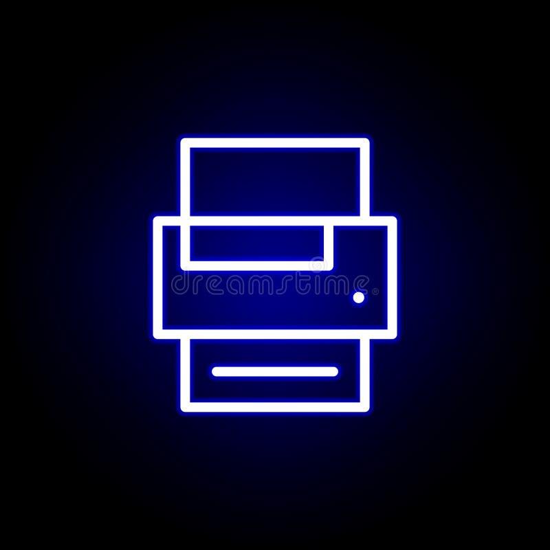 Εικονίδιο εκτυπωτών στο ύφος νέου Μπορέστε να χρησιμοποιηθείτε για τον Ιστό, λογότυπο, κινητό app, UI, UX ελεύθερη απεικόνιση δικαιώματος