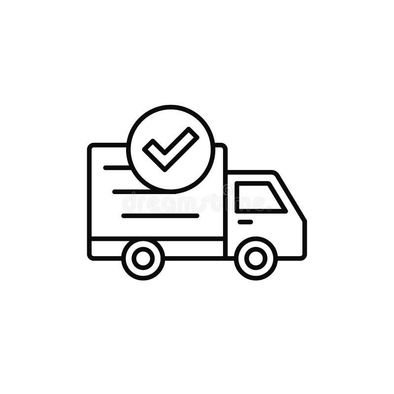 Εικονίδιο ελέγχου φορτηγών παράδοσης γίνοντας έλεγχος, απεικόνιση στοιχείων αποστολών επιτυχίας απλό σχέδιο συμβόλων περιλήψεων δ απεικόνιση αποθεμάτων