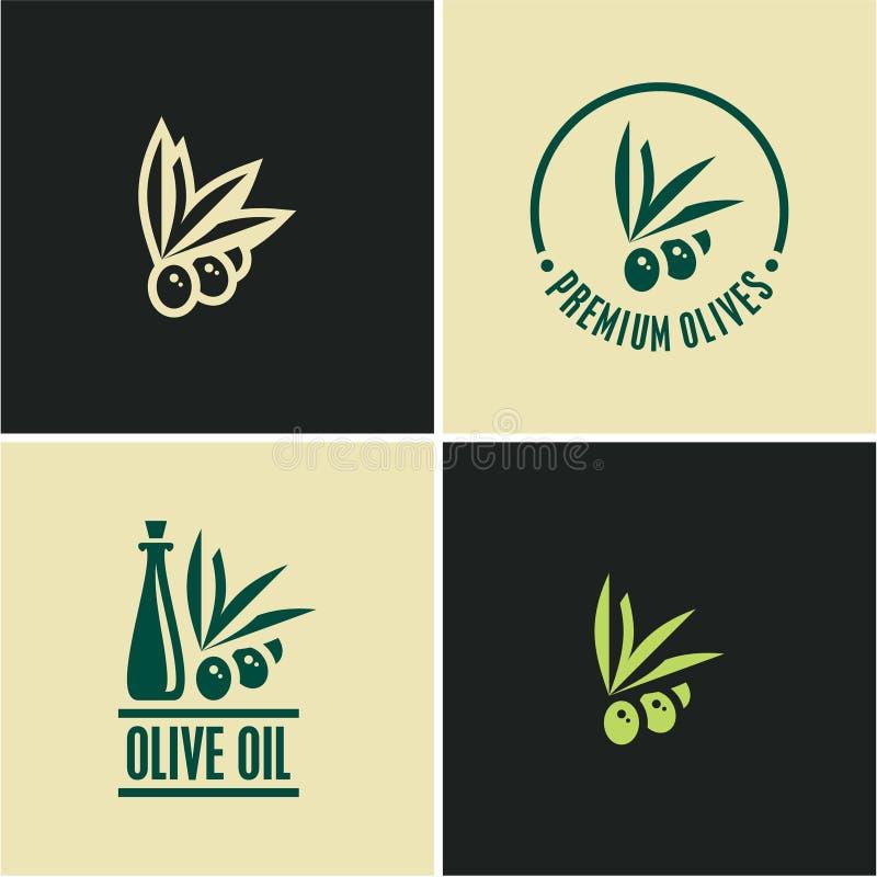 Εικονίδιο ελιών όμορφα ντυμένα μπουκάλι καρυκεύματα ελιών πετρελαίου Κλαδί ελιάς ελεύθερη απεικόνιση δικαιώματος