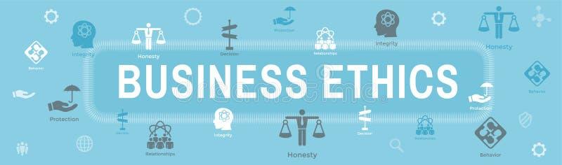 Εικονίδιο εμβλημάτων Ιστού επιχειρησιακής ηθικής που τίθεται με την τιμιότητα, ακεραιότητα, COM απεικόνιση αποθεμάτων