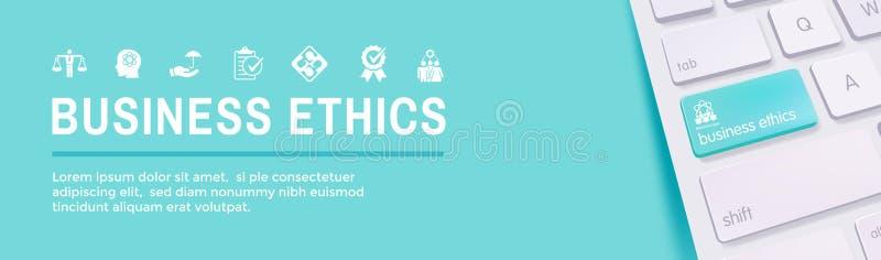 Εικονίδιο εμβλημάτων Ιστού επιχειρησιακής ηθικής που τίθεται με την τιμιότητα, ακεραιότητα, COM ελεύθερη απεικόνιση δικαιώματος