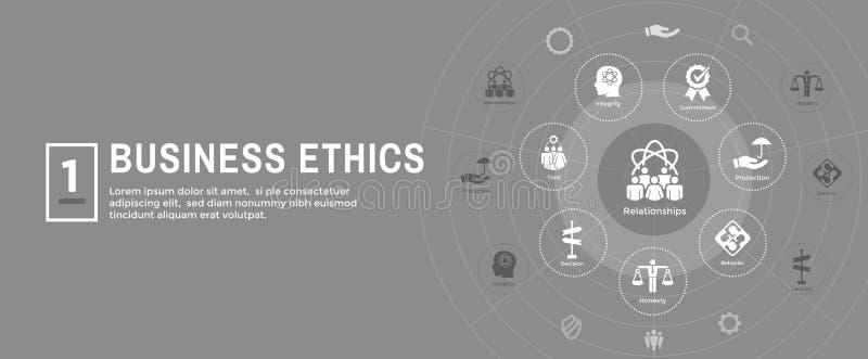 Εικονίδιο εμβλημάτων Ιστού επιχειρησιακής ηθικής που τίθεται με την τιμιότητα, ακεραιότητα, COM διανυσματική απεικόνιση