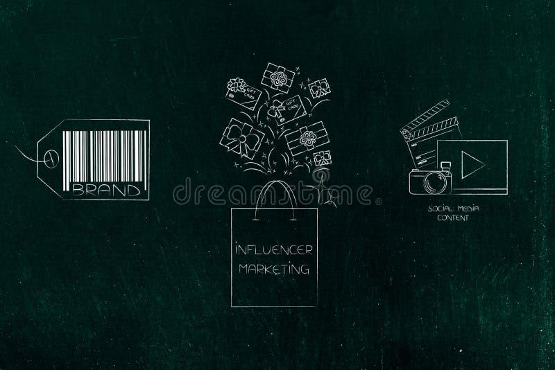 Εικονίδιο εμπορικών σημάτων και ψηφιακό περιεχόμενο με το σύνολο τσαντών influencer των δώρων στοκ φωτογραφία με δικαίωμα ελεύθερης χρήσης