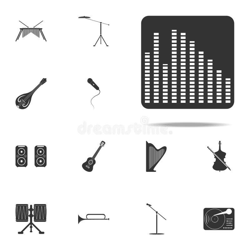 Εικονίδιο εξισωτών Καθολικό εικονιδίων οργάνων μουσικής που τίθεται για τον Ιστό και κινητό διανυσματική απεικόνιση
