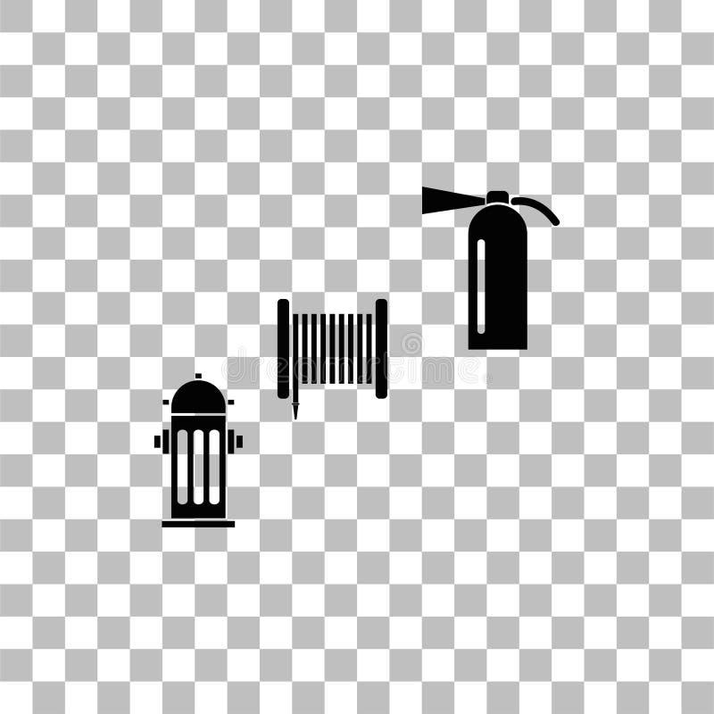 Εικονίδιο εξοπλισμού πυρκαγιάς επίπεδο απεικόνιση αποθεμάτων